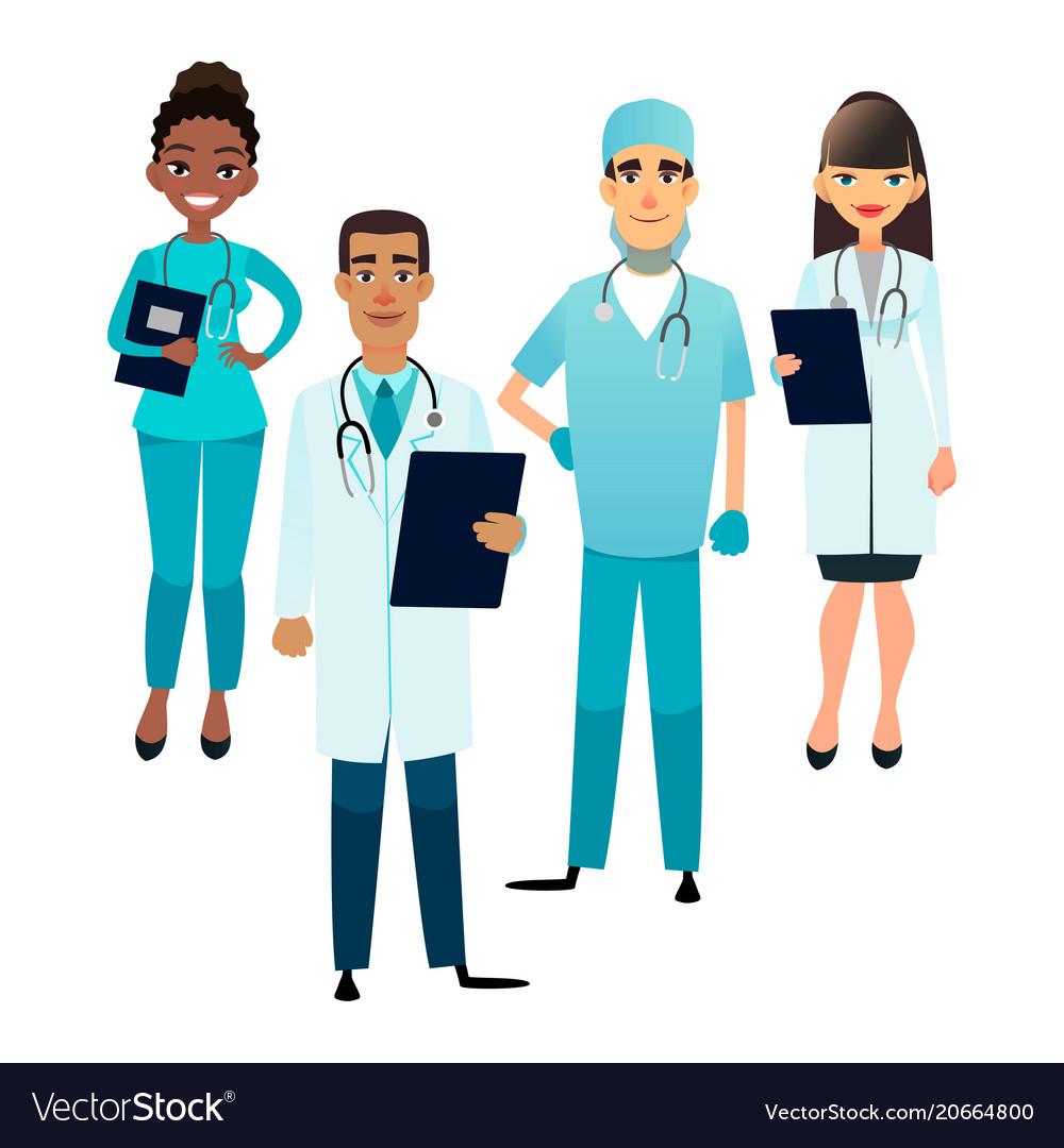Doctors And Nurses Team Cartoon Medical Staff Vector Image