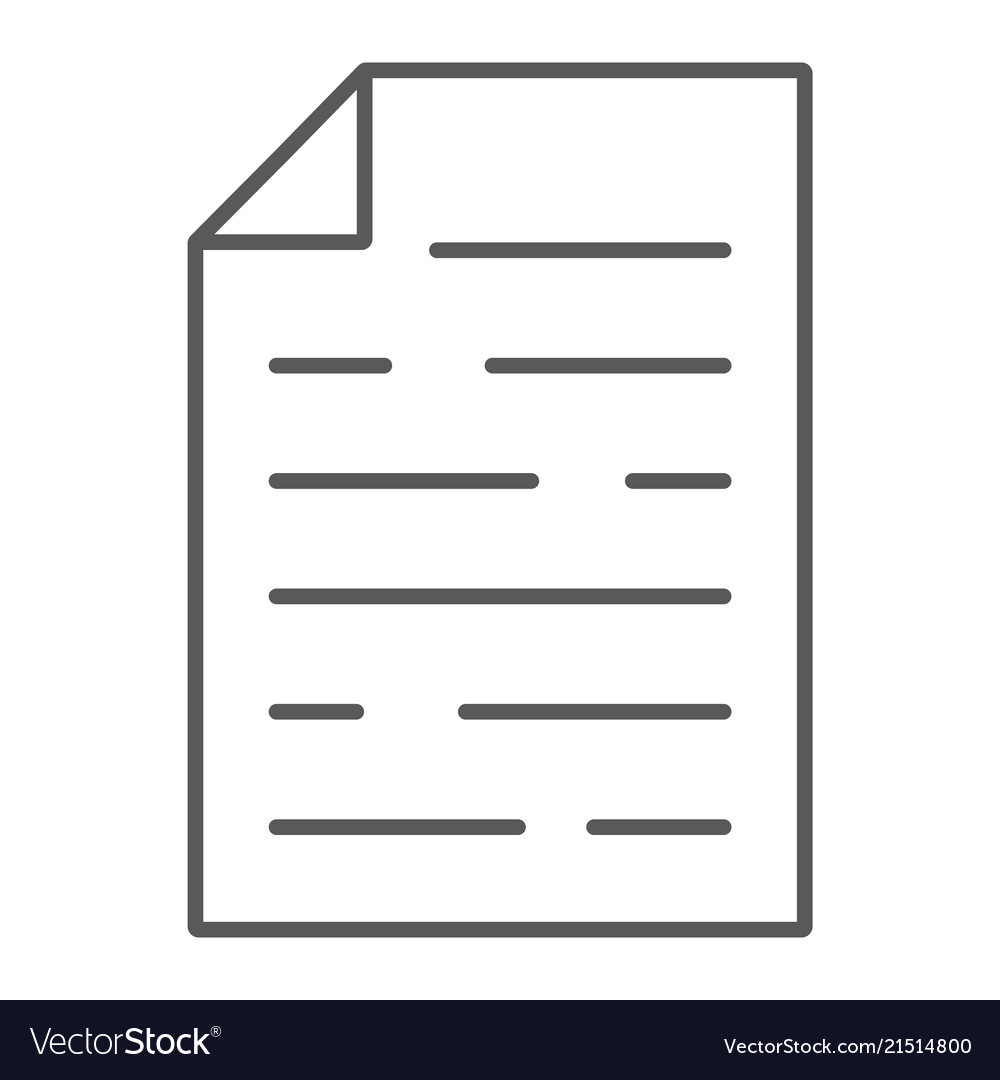 Document thin line icon office and work file