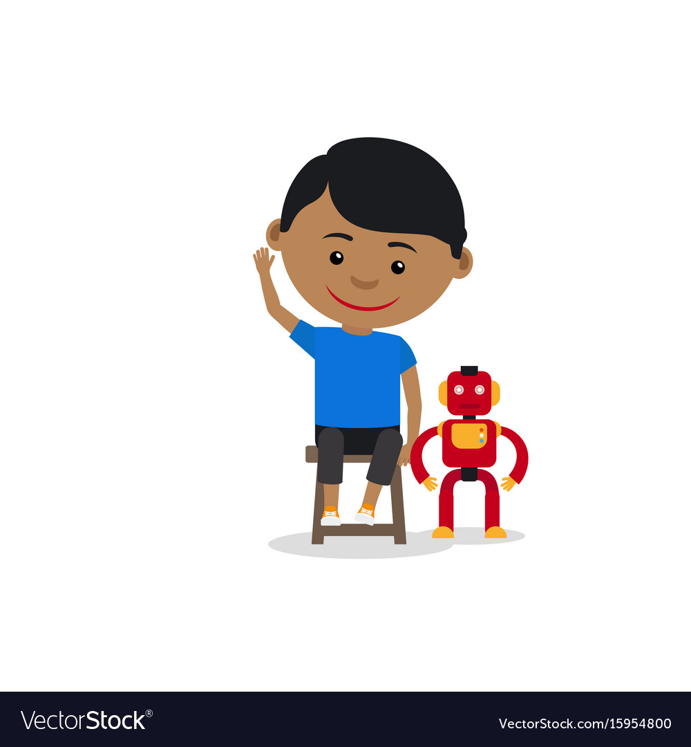 Indian boy with toy robot