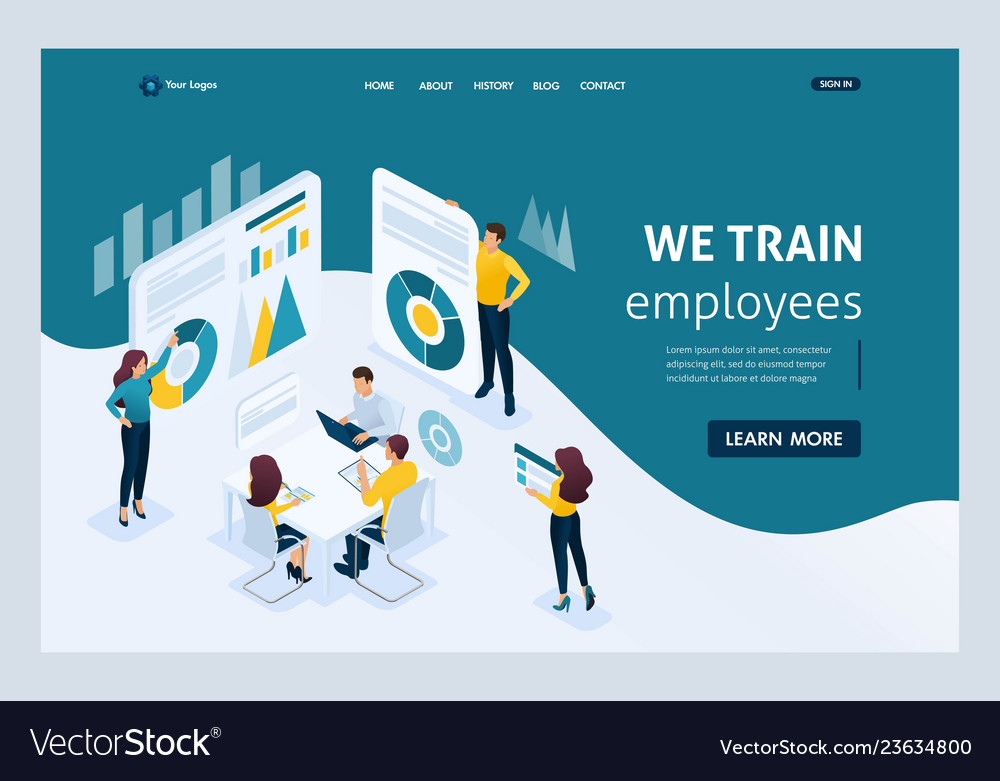 Isometric landing page for business solutions