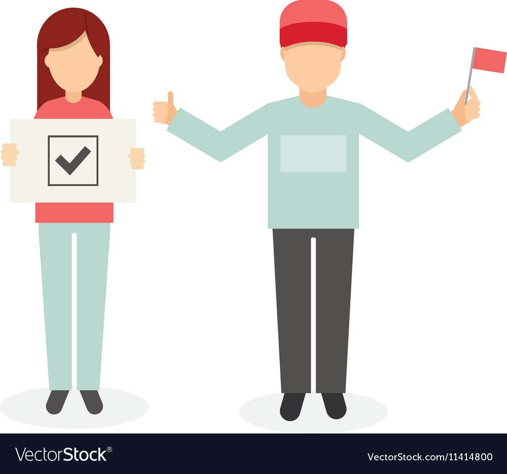 Man and woman with a flag and inscription vector image