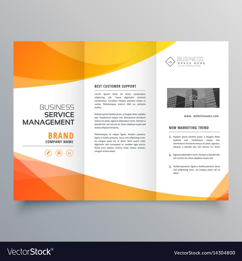 modern orange trifold brochure template in wave vector image