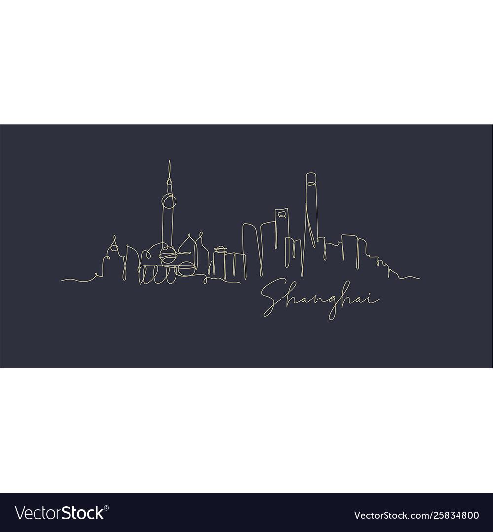 Pen line silhouette shanghai dark blue