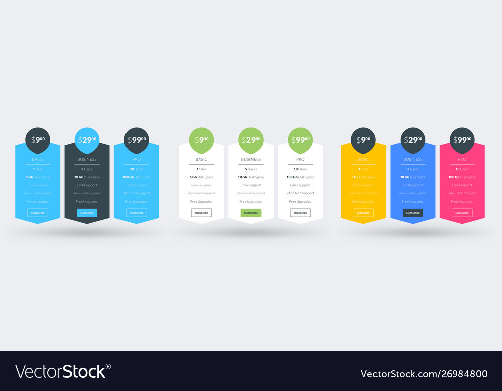 Pricing table design template pricing plans