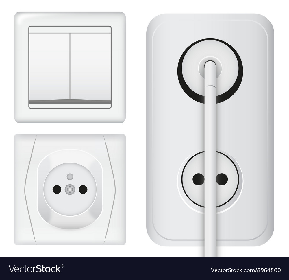 Realistic power socket cable with plug and light vector image