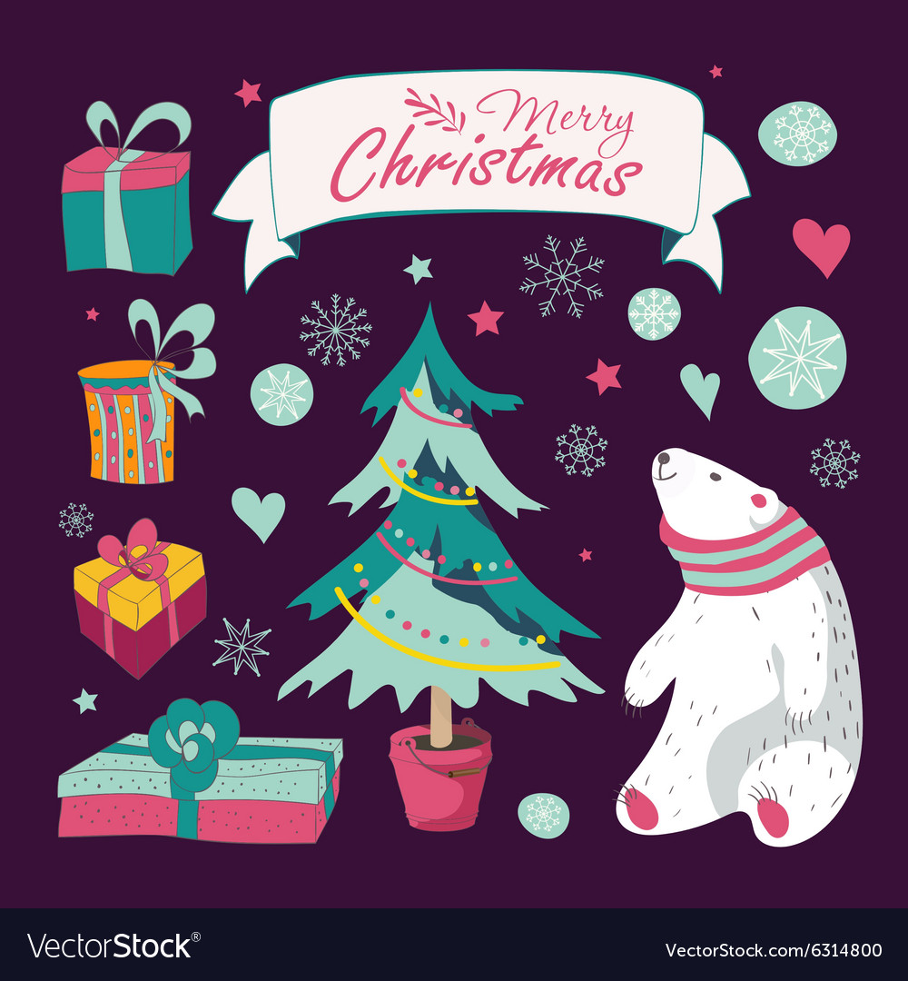 Set of Christmas and New Years graphic elements