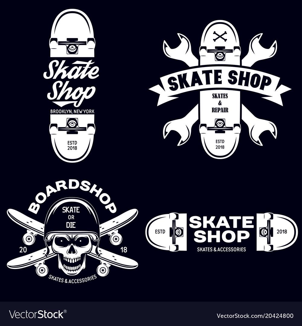 Skateboarding labels badges set quotes about