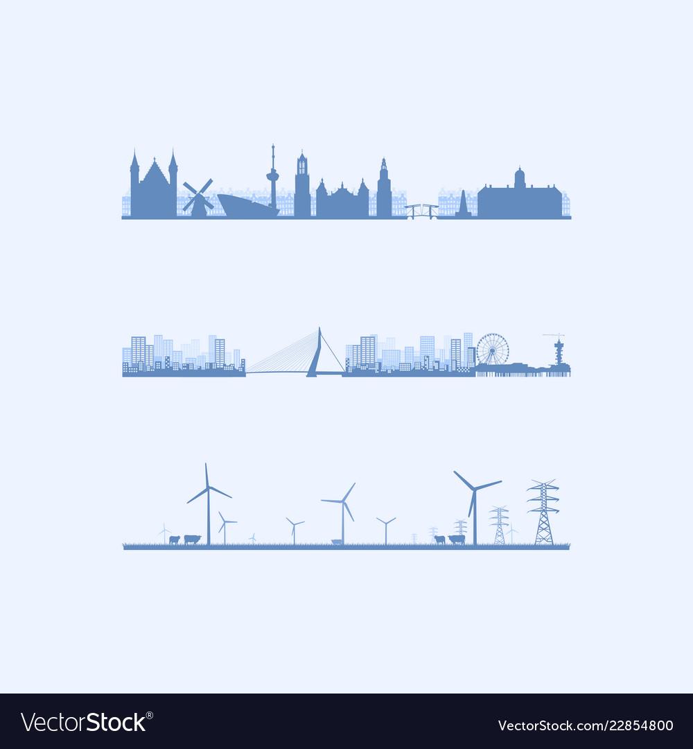 Three dutch skylines