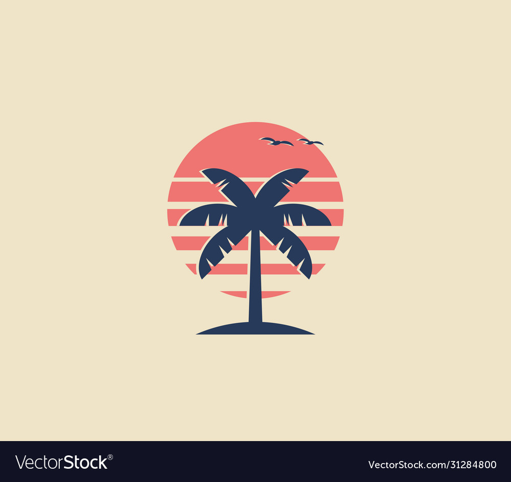 Vintage styled palm tree logo or icon design