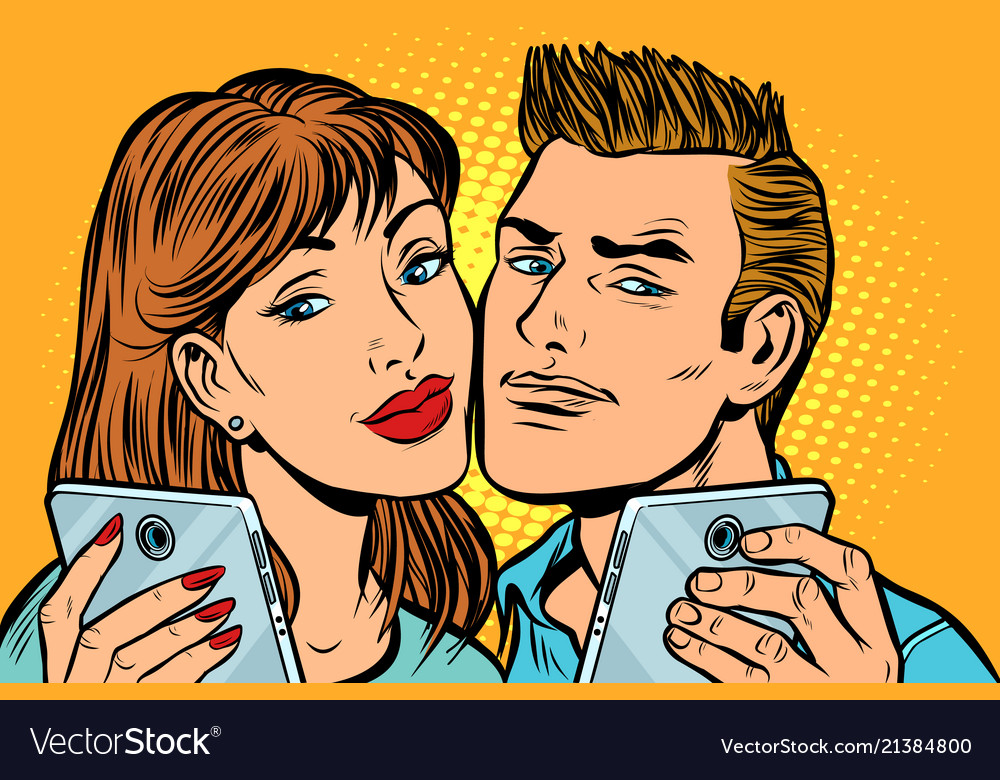 Young couple selfie on smartphone