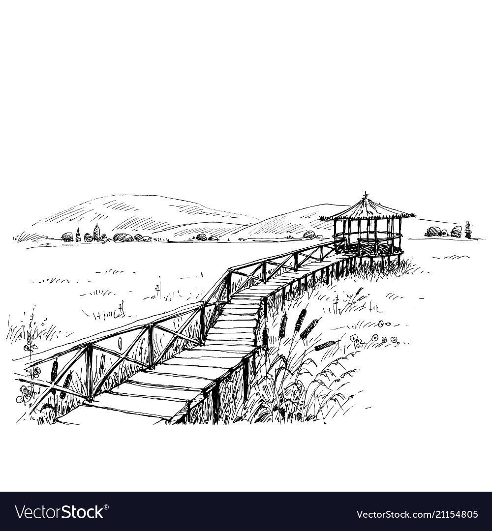 Bridge over meadow to the watchtower sketch