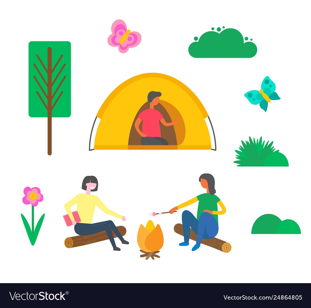 Camping people man sitting in tent women outdoors
