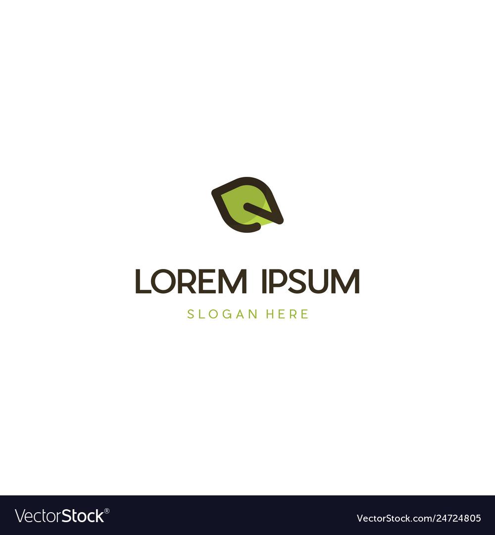Letter e leaf creative ecology logo design