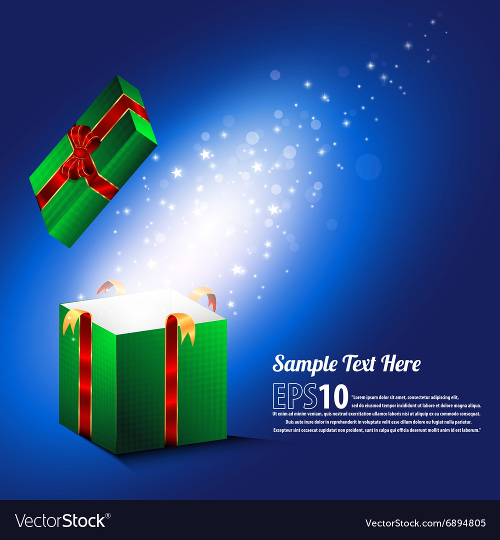 Open gift with fireworks from blue light vector image