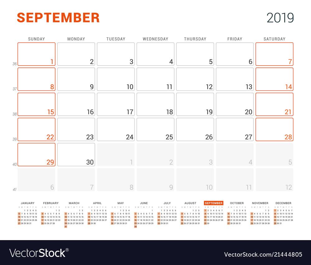 Calendar Planner September 2019.September 2019 Calendar Planner For 2019 Year