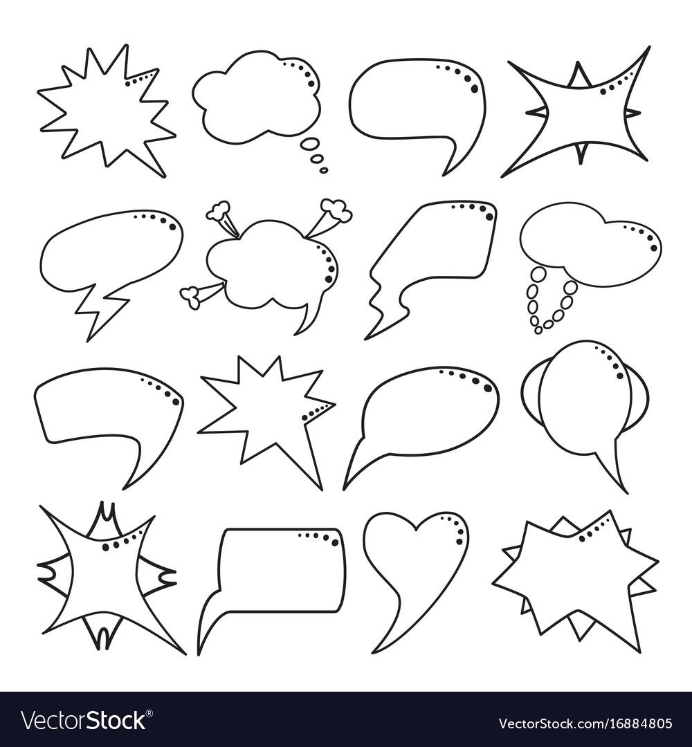 Speech bubbles set thin line style