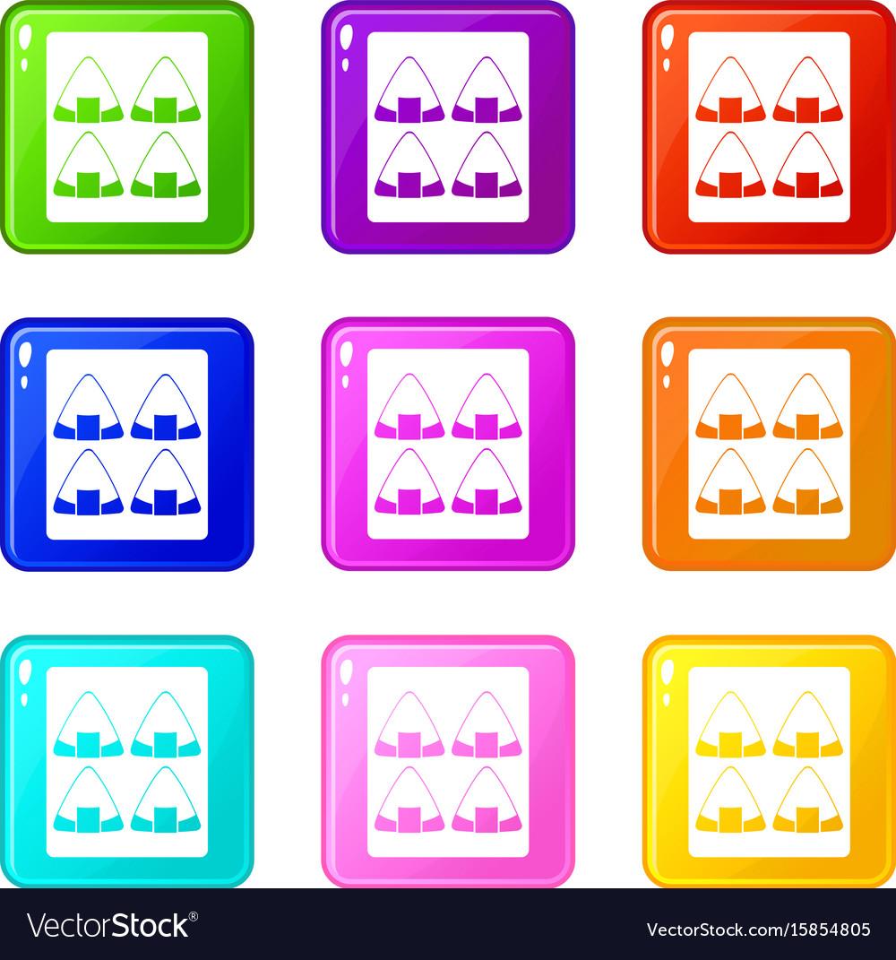 Sushi icons 9 set vector image