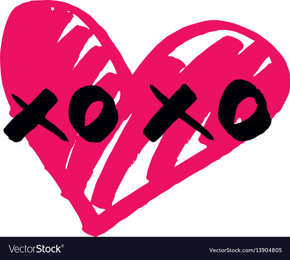 Xoxo hand drawn sign with pink heart isolated on w