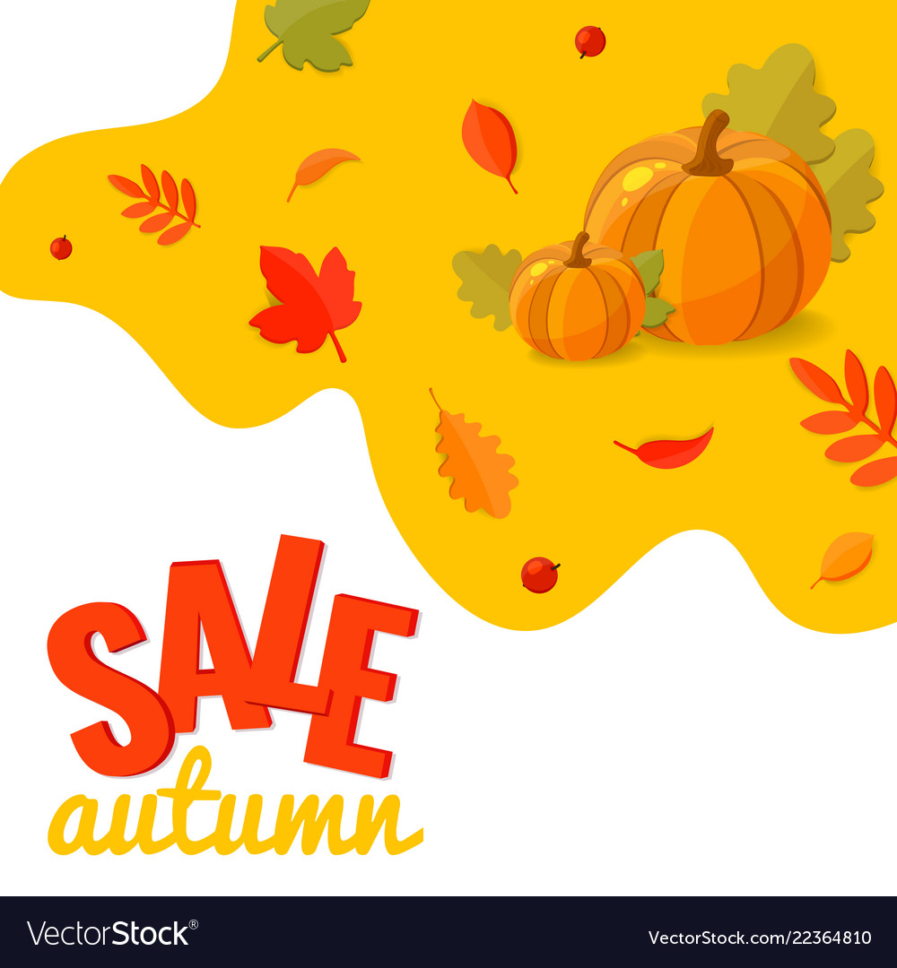 Autumn sale discount banner with pumpkins and