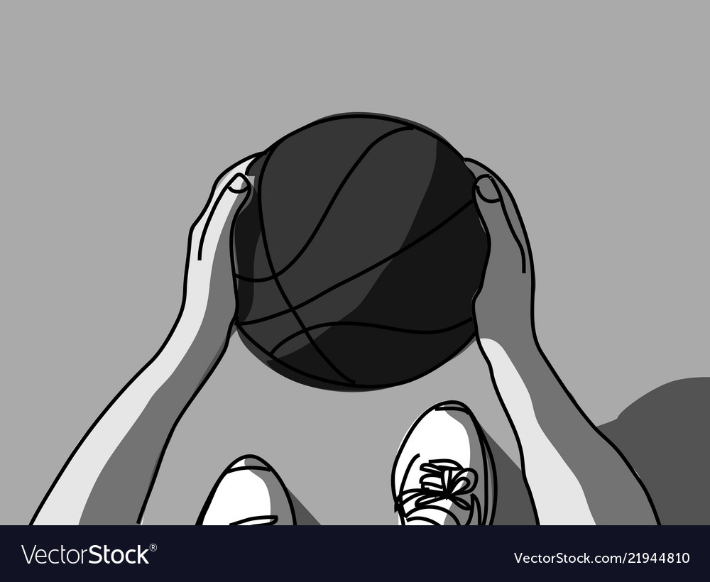 Basketball hands feet and ball top view grayscale