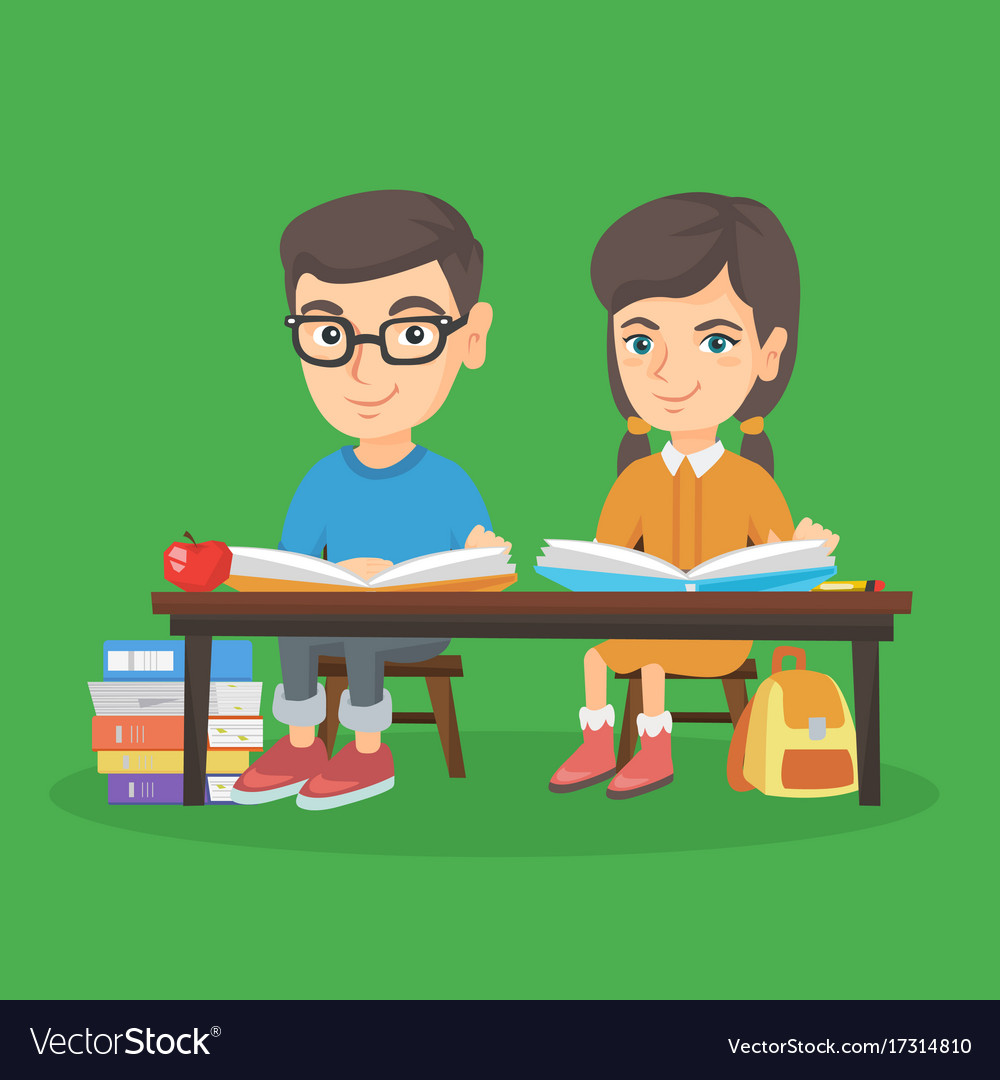 Boy and girl sitting at the table and reading vector image