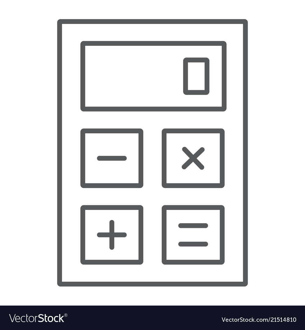 Calculator thin line icon office and work