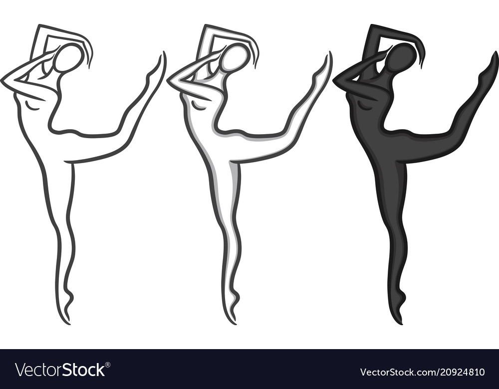 Elegant woman silhouette in a linear sketch style
