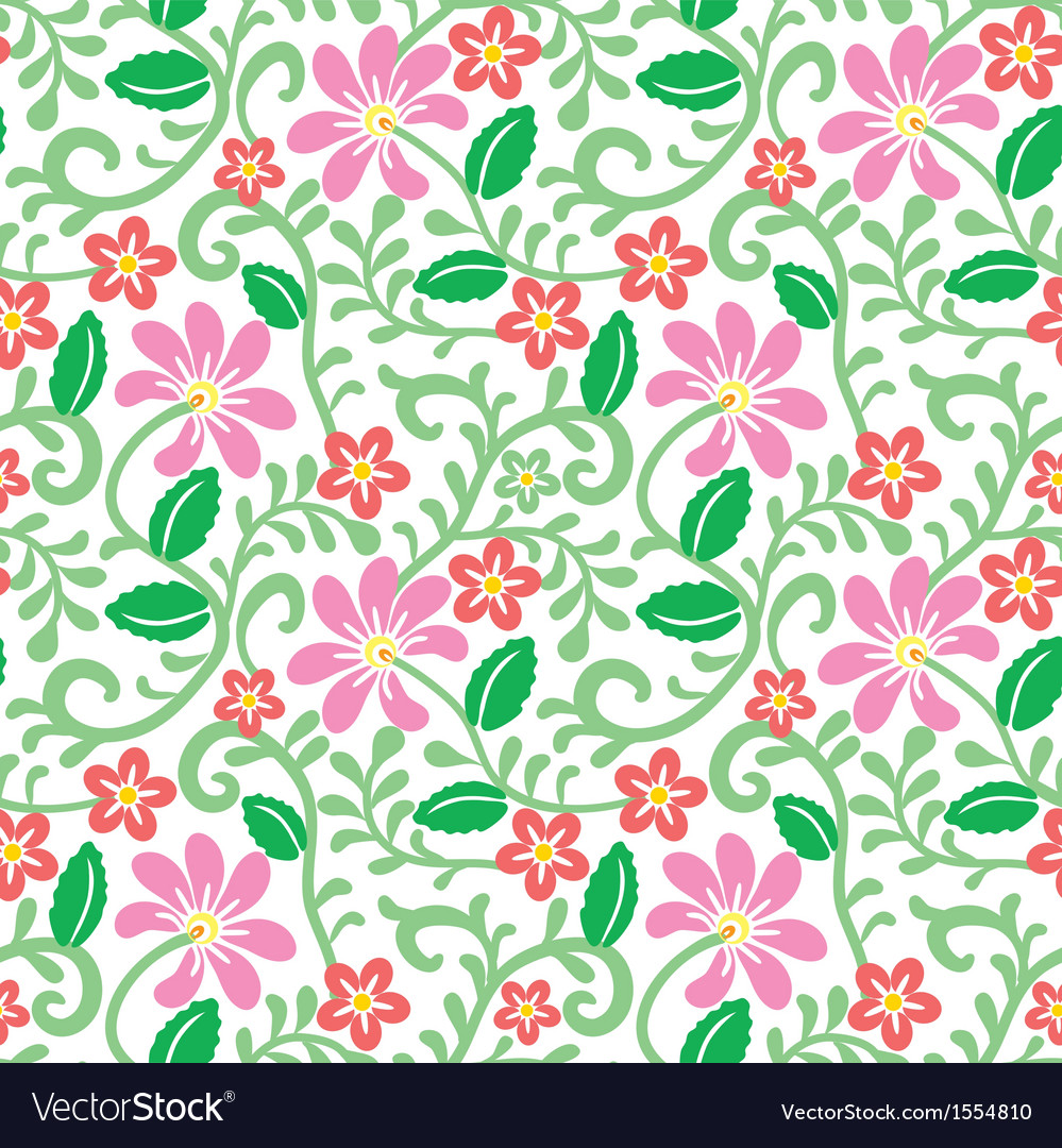 Floral seamless pattern with pink flower