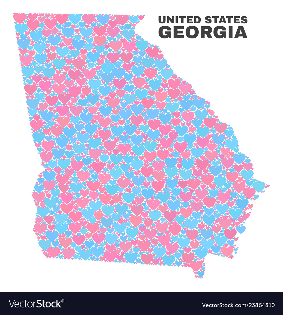 Georgia state map - mosaic of love hearts Vector Image