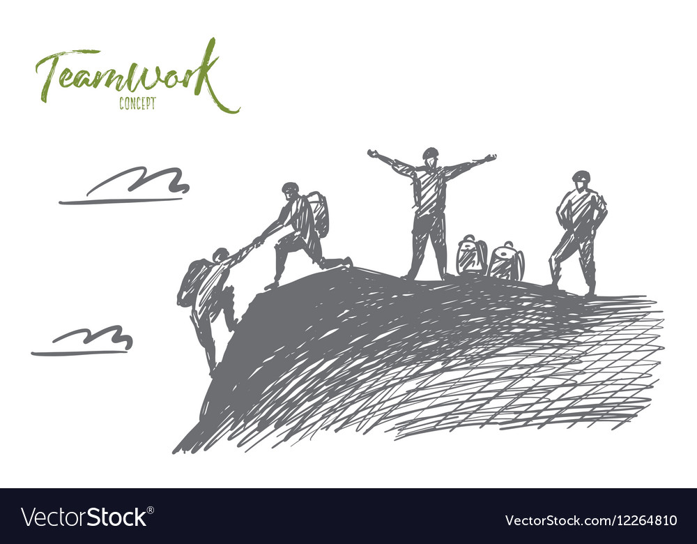 Hand drawn people helping each other to climb up vector image