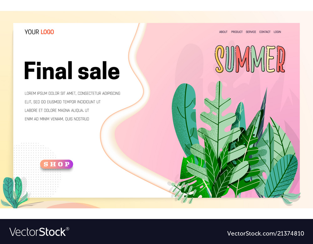 Landing page -summer final sale leaves on the