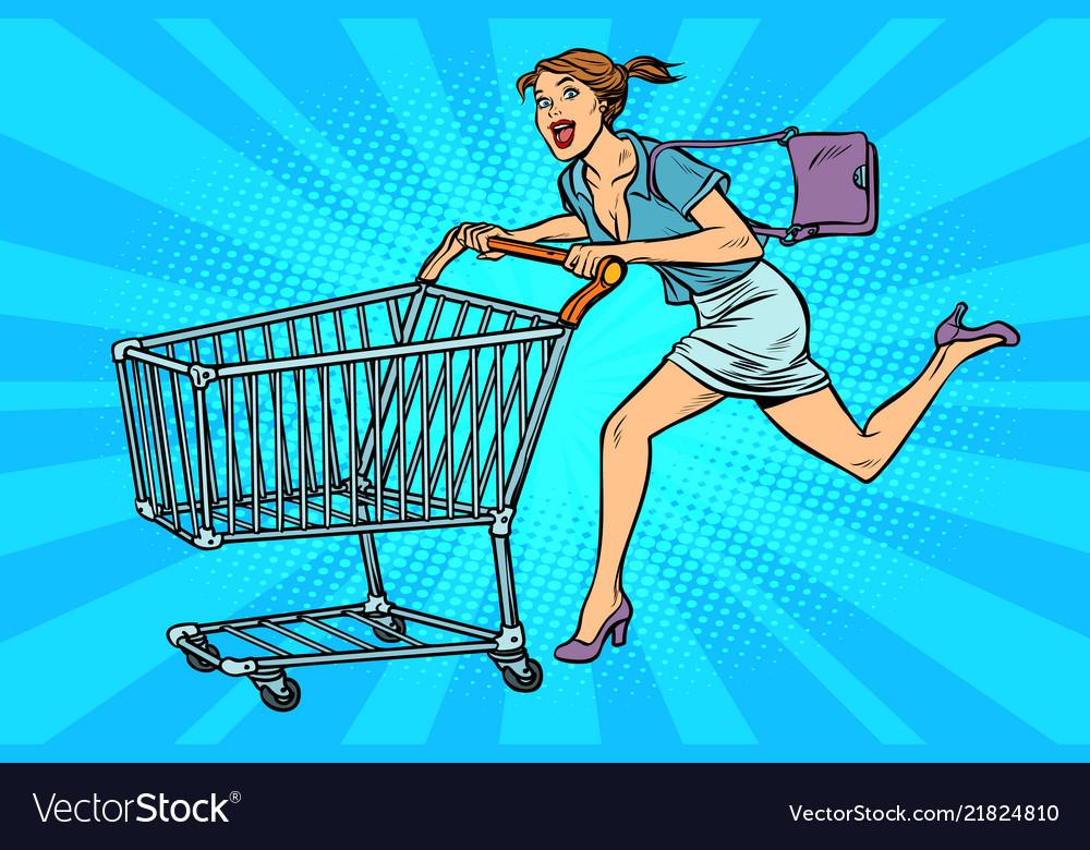 Pop art woman running with shopping cart