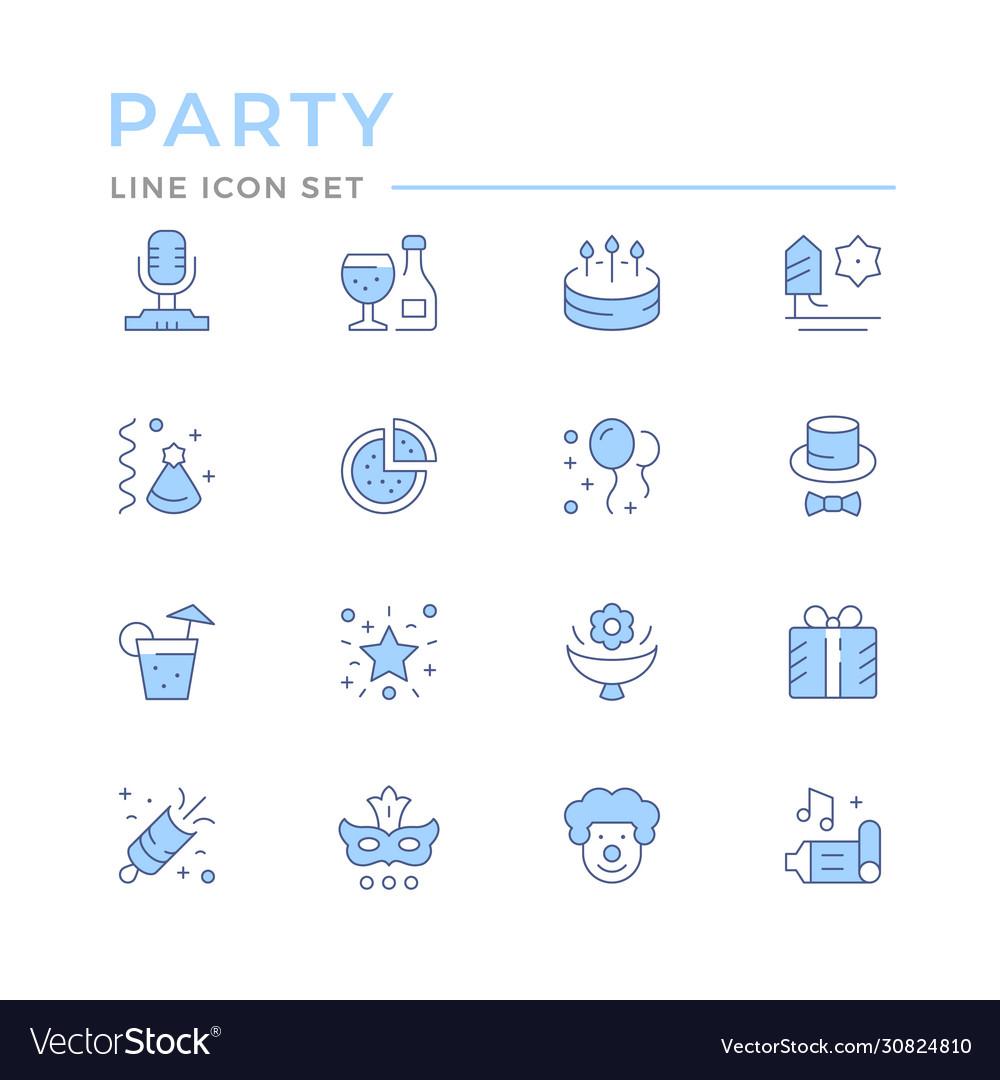 Set color line icons party