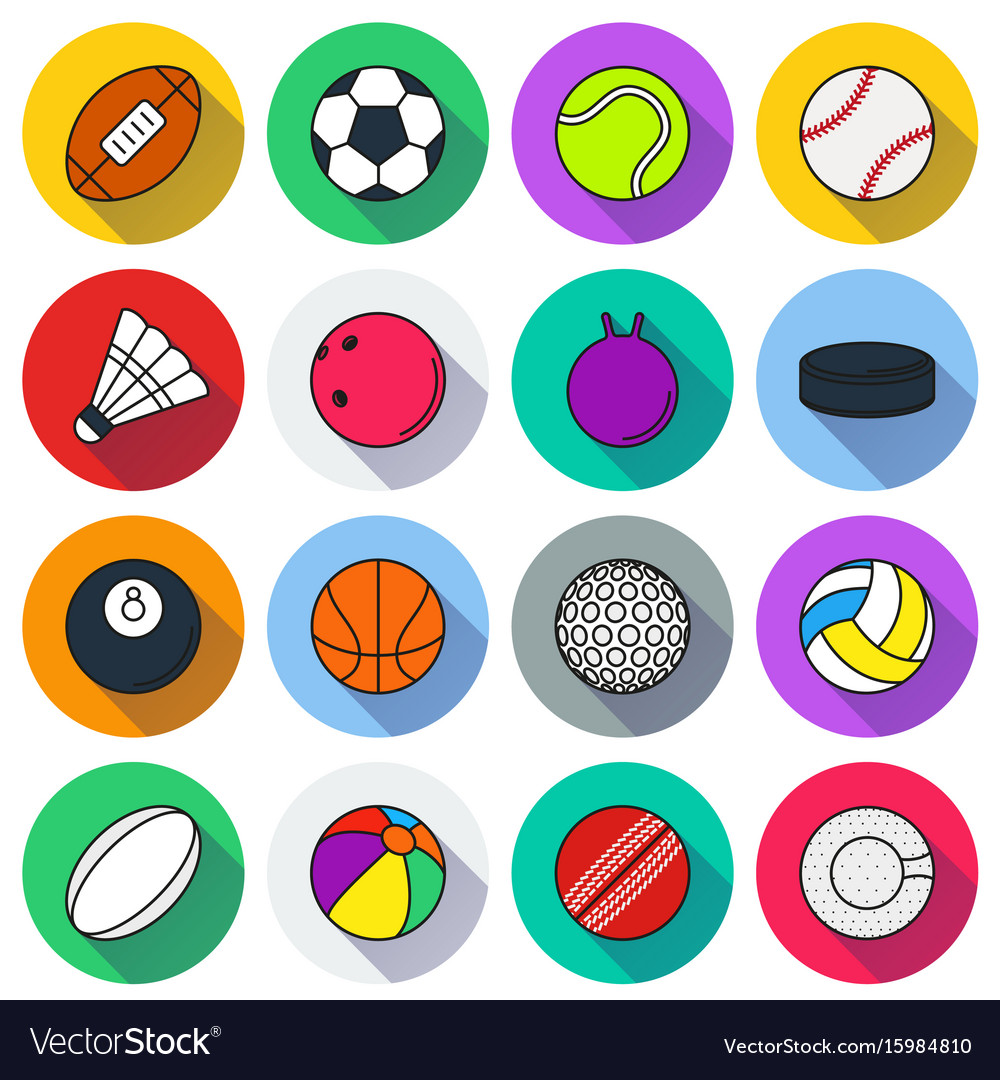 Sports Balls Icon Set On White Background Vector Image