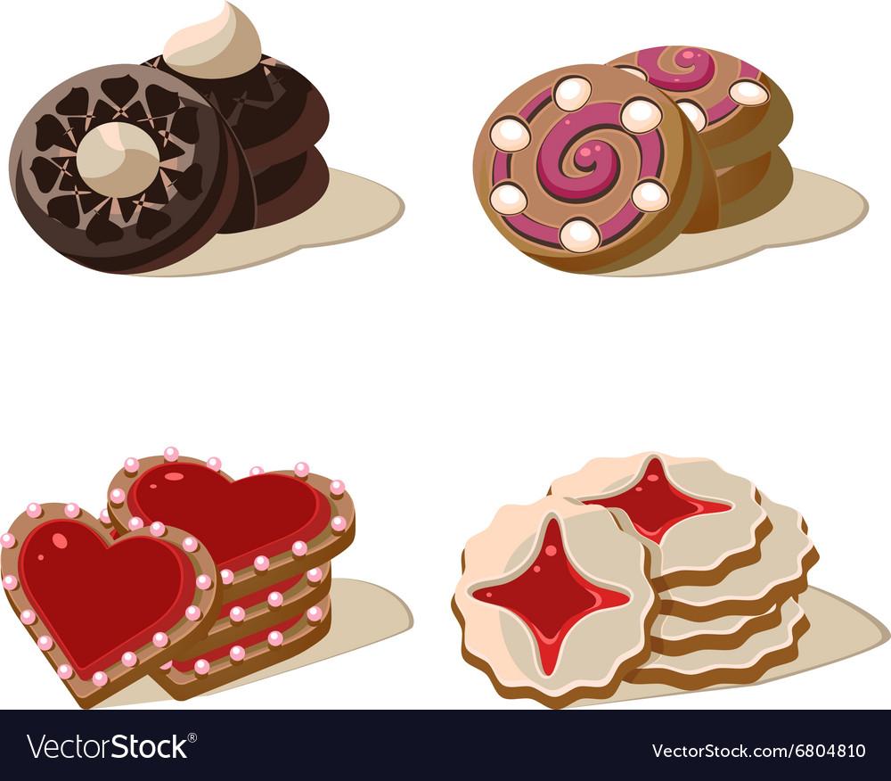 Sweet Cookies Set of Cartoon Icons vector image