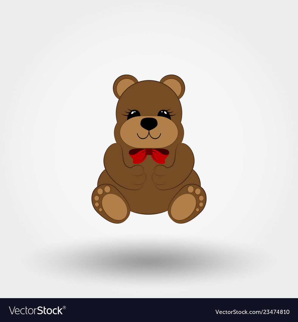 Teddy bear bawith red bow icon flat