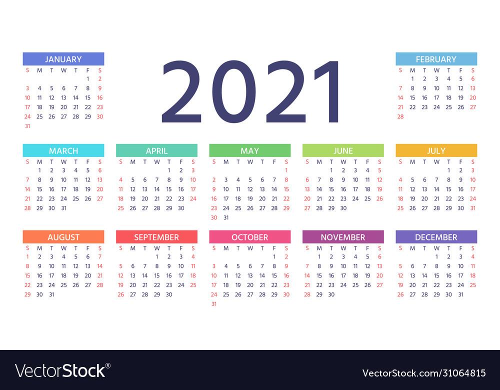 2021 Colorful Calendar 2021 calendar color template year planner Vector Image