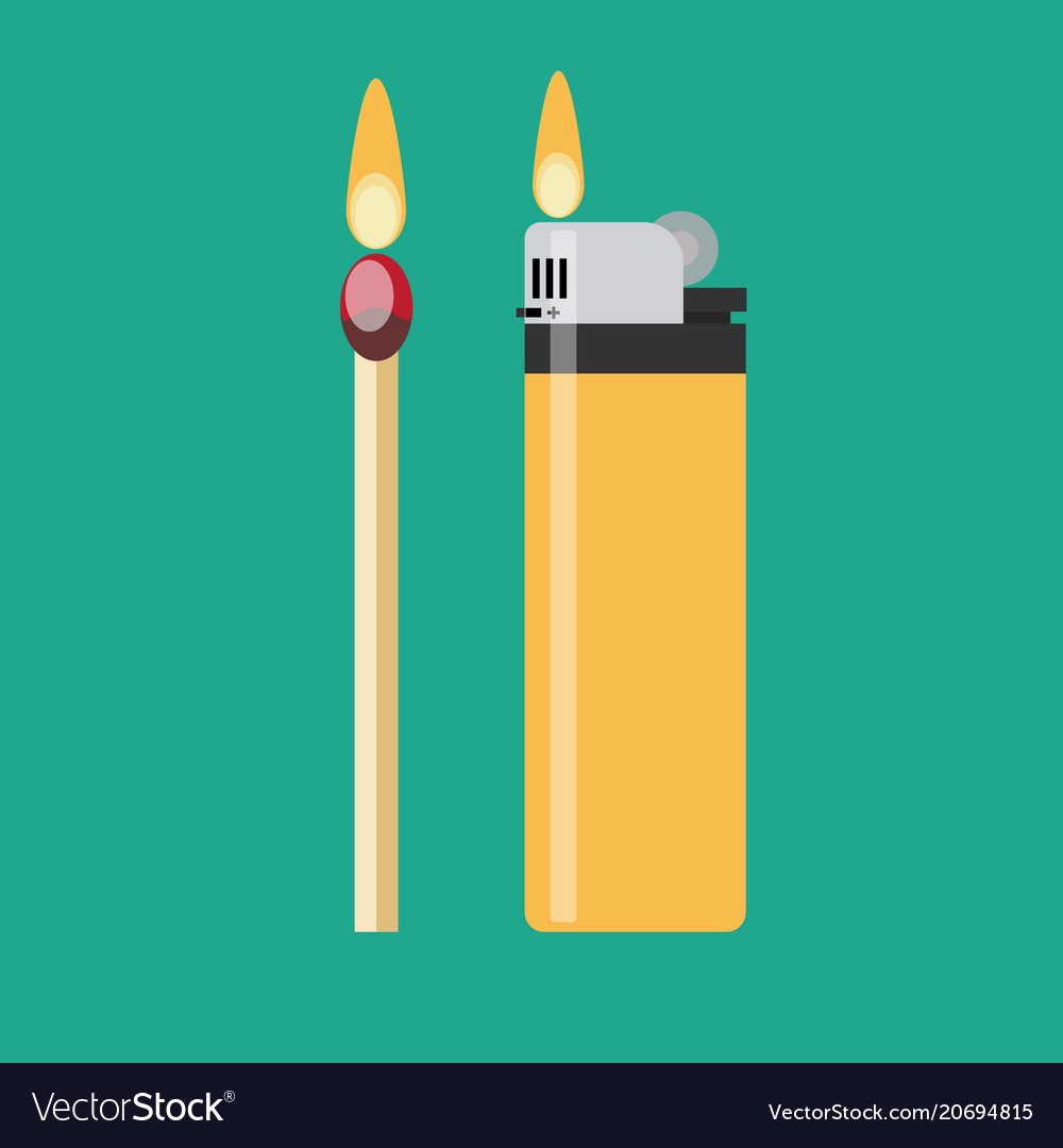 A match and a blue gas lighter each with flaming