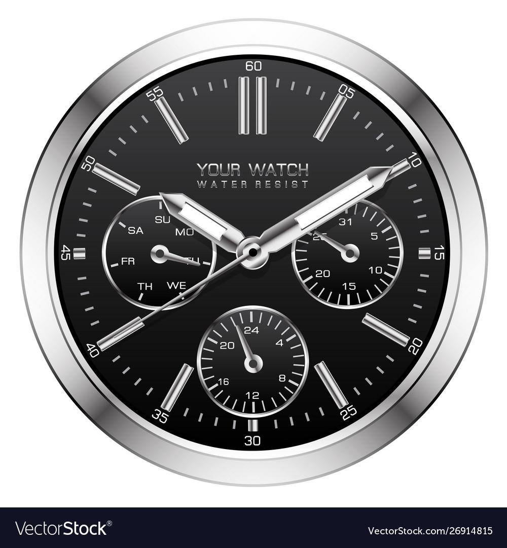 Clock Watch Face Chronograph Vector Image