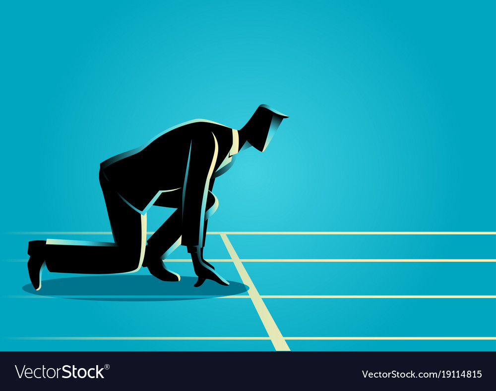 Businessman ready to sprint on starting line