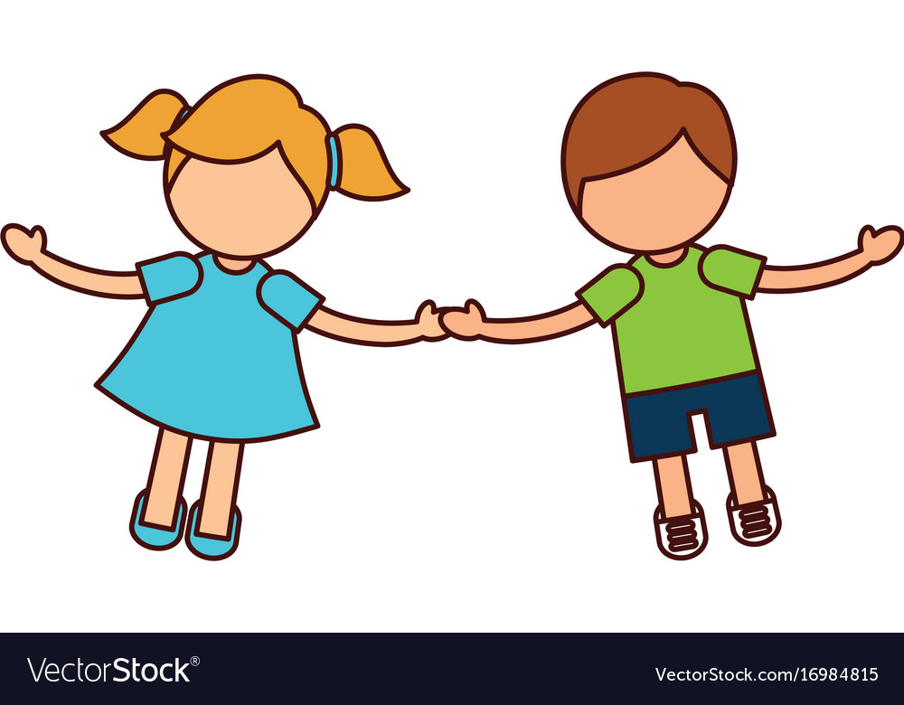 Children Holding Hands Characters Royalty Free Vector Image