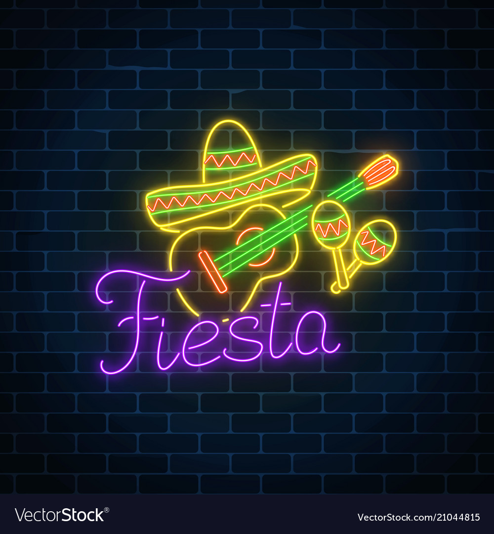 Glowing neon fiesta holiday sign mexican festival