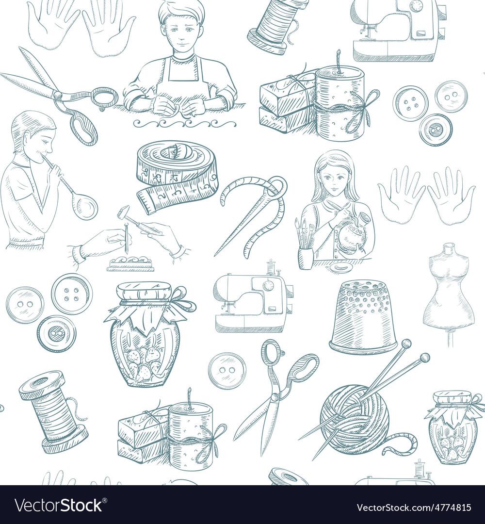 Handmade Seamless Pattern vector image