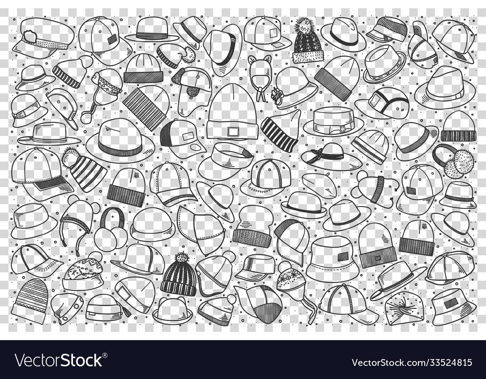 Hats doodle set
