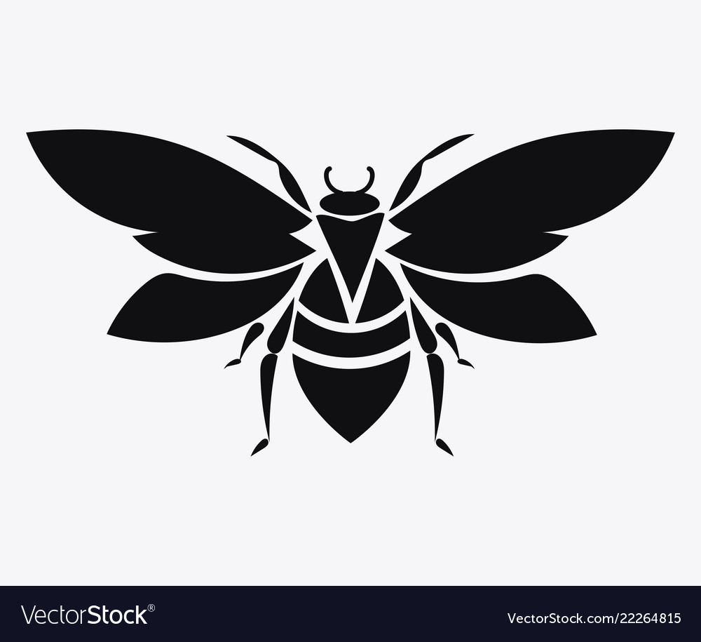 Logo bee black and white bee icon