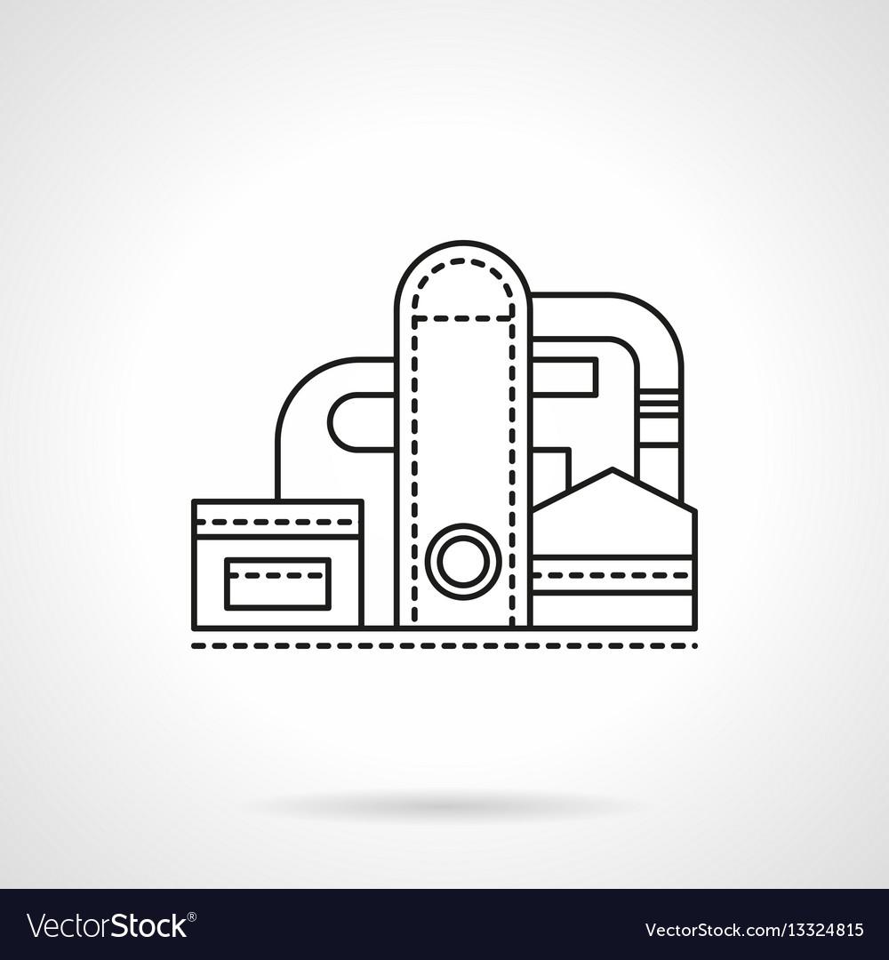 Refinery plant flat line icon