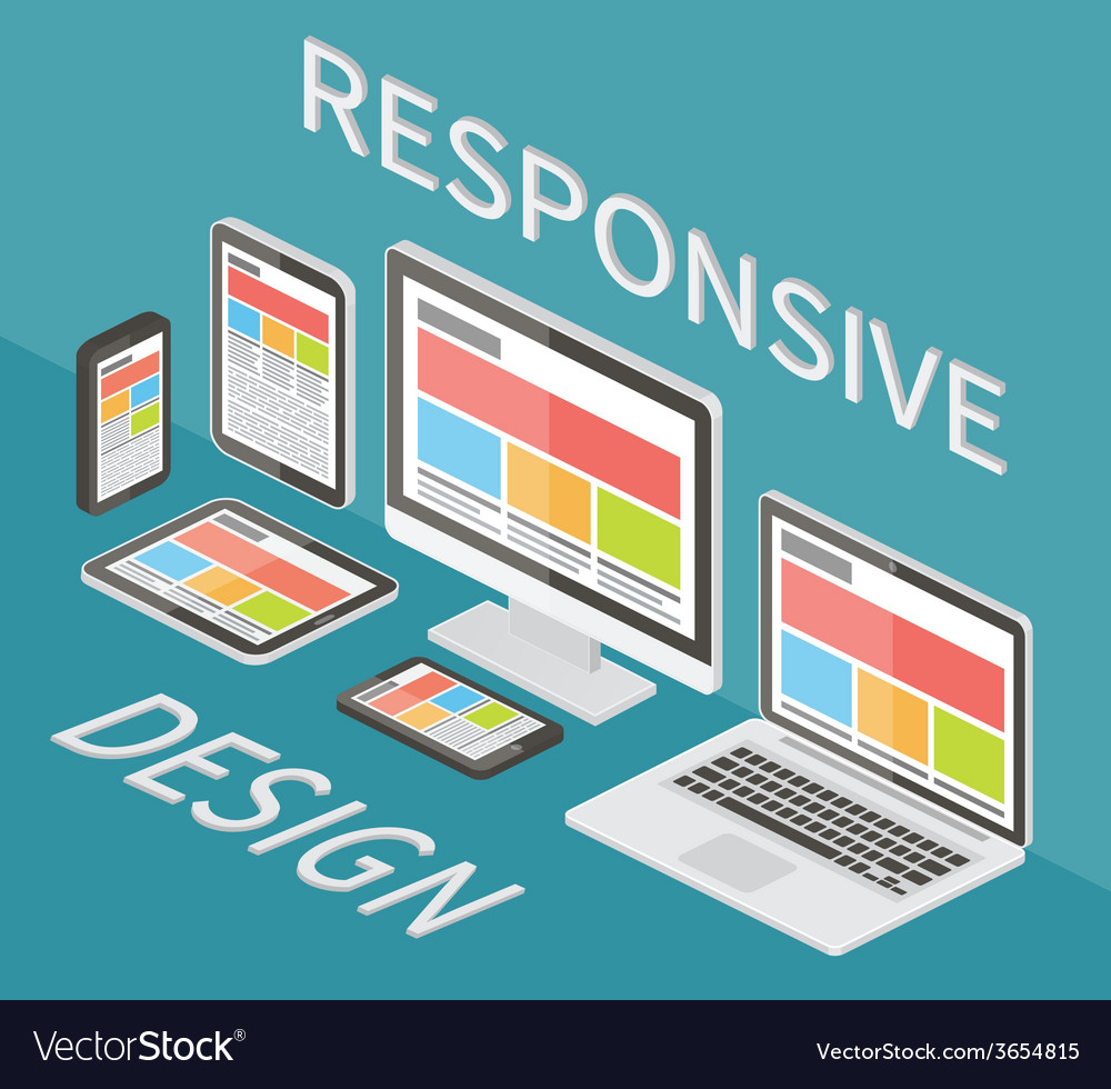 Responsive web design 3d isometric flat