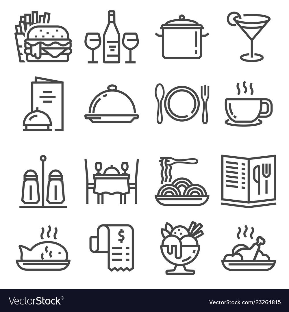 Restaurant icons set on white background