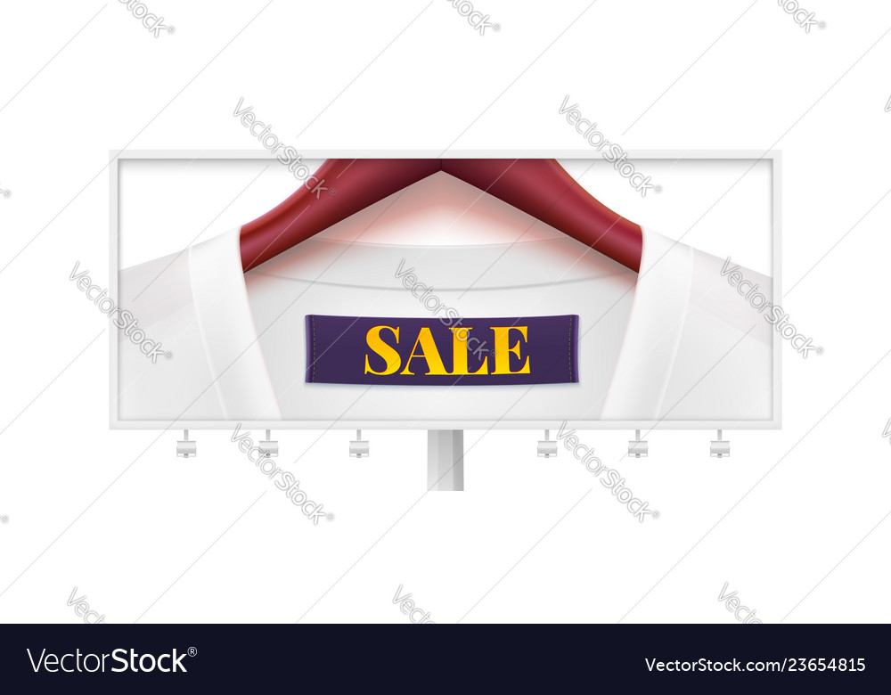 Sale billboard with dress on wooden clothes
