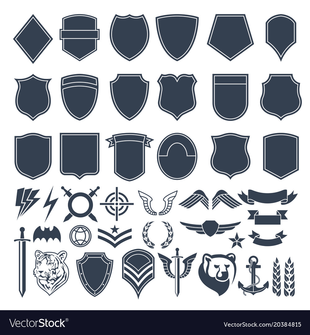 Set of empty shapes for military badges army